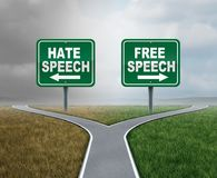 Free Speech And Hate. Talk as freedom or hatred symbol as opposite political directions with 3D illustration elements Royalty Free Stock Images