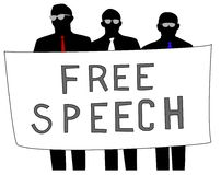 Free Speech. Illustration of men protesting for free speech Royalty Free Stock Photo