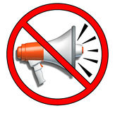 Free speech prohibited. Quiet symbol representing the prohibition of free speech using a bullhorn or megaphone and no advertising Royalty Free Stock Photo