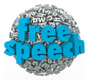 Free Speech Words Liberty Rights Freedom Beliefs. Free Speech words on a ball of 3d letters to illustrate liberty, rights, freedom and beliefs Stock Photos