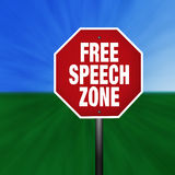Free Speech Zone Stop Sign. A free speech zone stop sign illustration with a grass and sky background vector illustration