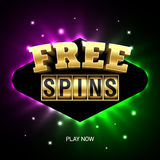 Free Spins banner Royalty Free Stock Photos