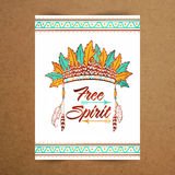 Free Spirit greeting card, invitation, poster, banner and flyer. Stock Images