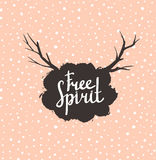 Free Spirit Hipster Vintage Stylized Lettering on the pink background. Royalty Free Stock Images