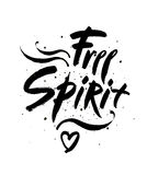 Free spirit  lettering illustration. Hand drawn phrase.. Handwritten modern brush calligraphy for invitation and greeting card, t-shirt, prints and posters Royalty Free Stock Images