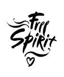 Free spirit  lettering illustration. Hand drawn phrase. Handwritten modern brush calligraphy for you design. Free spirit  lettering illustration. Hand drawn Stock Image