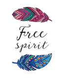 Free spirit. Vector card with ethnic decorative feathers Stock Photo