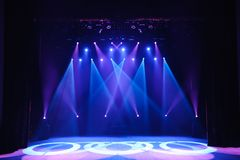Free stage with lights, background of empty stage, spotlight, neon light, smoke. royalty free stock photography