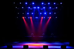 Free stage with lights, background of empty stage, spotlight, neon light, smoke. Free stage with lights, background of empty stage, spotlight, smoke royalty free stock photo