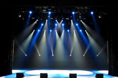 Free stage with lights, background of empty stage, spotlight, neon light, smoke. royalty free stock image