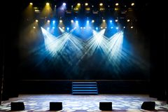 Free stage with lights, light with colored spotlights and smoke. royalty free stock image