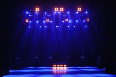 Free stage with lights, lighting devices. Background. stock image