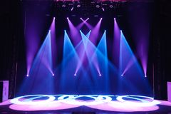 Free stage with lights, lighting devices. Night show. Free stage with lights, lighting devices. Background stock photography