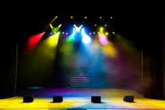 Free stage with lights, lighting devices, colored spotlights. royalty free stock photos