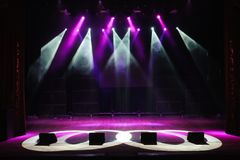 Free stage with lights, lighting devices, colored spotlights. Free stage with lights, lighting devices stock photography