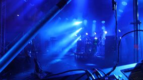 Free stage with lights, lighting devices. Stage lights blue royalty free stock images