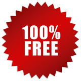 Free sticker. 100 percent free sticker isolated on white, vector illustration Stock Illustration