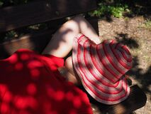 Free stock photo of red, girl, petal, leg Stock Photo