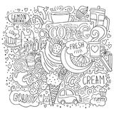 Free style coffee and sweets illustration. Black and white sketch art with drinks, fruits, cats, hearts and lettering stock illustration