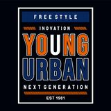 Free style inovation young urban typography graphic design t shirt stock image