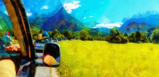 Free summer car travelling road trip in beautiful mountain landscape and computer painting effect. Free summer car travelling road trip in beautiful mountain stock photography
