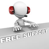 Free support. Help desk, little 3d man support staff member with telephone headset on Royalty Free Stock Photos