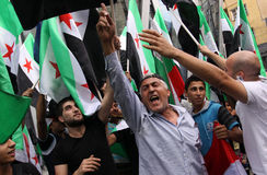 Free Syria, Syrian flags Stock Photography