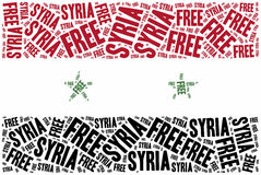 Free Syria. Word cloud illustration related to syrian civil war. Stock Image
