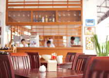 Free table in cafe. Free table with five chairs in cafe Royalty Free Stock Photo