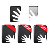 Free Tablet Touch Screen. Ipad and iphone tablet touch screen showing a hand Stock Photos