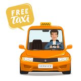 Free taxi, concept. Happy driver rides a car. Cartoon vector illustration. Isolated on white background Stock Image