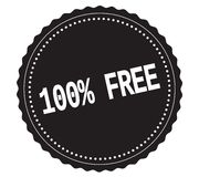 100%-FREE text, on black sticker stamp. 100%-FREE text, on black sticker stamp sign Royalty Free Stock Photos