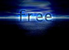 Free Text on Bright Blue Distant Horizon Royalty Free Stock Photography