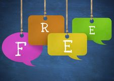 Free text on hanging paper speech bubbles. Digital composite of Free text on hanging paper speech bubbles Stock Photo