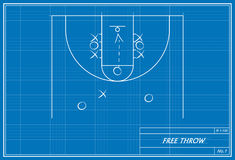 Free throw on blueprint Stock Photo
