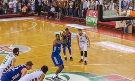 Free Throw by Ricky Ledo. Free throw shot by Ricky Ledo during the basketball match between Anadolu Efes and Karsiyaka KSK basketball teams in Izmir, Turkey on stock photography