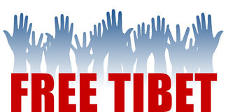 Free Tibet. Vector group of isolated raised blue hands illustration on white background with red text Free Tibet Royalty Free Stock Photos