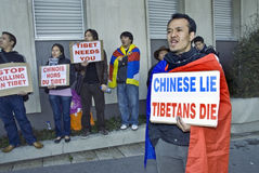 Free Tibet. Paris, FRANCE - Tibet Demonstration by Tibetan Immigrants in Paris. Global Day for Tibet In front of the French Office of the Int'l Olympics Royalty Free Stock Photo