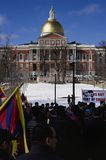 Free Tibet community in front of MA State House. 3-10-13 Boston Tibetan Community march on a beautiful sunny winter day through the Boston Common. In the period Royalty Free Stock Images