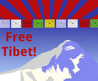 Free Tibet!. The image shows the Himalaya, some prayer flags with nepalese letters and the wind horse in the middle of the flags. On the top are the Tibetian Stock Images