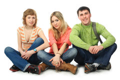 Free time. Group of students. Theme: education friends, relations Stock Photography