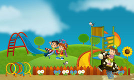 Free time - children at playground - illustration for the children Royalty Free Stock Image