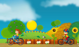 Free time - children at playground - illustration for the children Royalty Free Stock Images