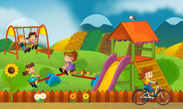 Free time - children at playground - illustration for the children Stock Images