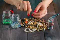 Free time evening making beads Royalty Free Stock Photography