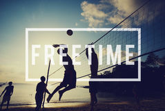 Free Time Freedom Break Emancipated Harmony Relaxation Concept. People playing beach volleyball free time freedom break emancipated harmony relaxation Royalty Free Stock Photos