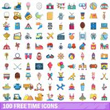 100 free time icons set, cartoon style. 100 free time icons set in cartoon style for any design vector illustration Royalty Free Stock Images