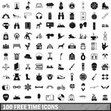 100 free time icons set, simple style. 100 free time icons set in simple style for any design vector illustration Stock Photos