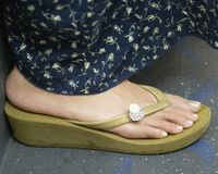 Free Toes. Photo of lady's free toes never stunted nor cramped by shoes royalty free stock image