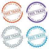 Free Trade badge isolated on white background. Flat style round label with text. Circular emblem vector illustration Stock Photos